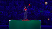 Mario's appearance during the Closing Ceremonies and Shinzō Abe in his Mario outfit.