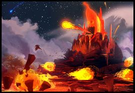 Concept art of Donkey Kong Country Returns where Donkey Kong is in a volcanic area. There is a Banana-shaped villain who is shooting fireballs from his mouth, possibly and earlier Tiki Tong.