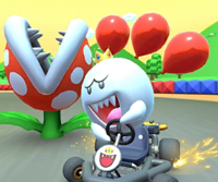 The icon of the King Boo Cup challenge from the 2020 Yoshi Tour and the Bowser Cup challenge from the 2021 Yoshi Tour in Mario Kart Tour.