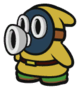 The Yellow Snifit sprite from Paper Mario: Color Splash.