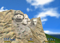 Mario as a head on Mount Rushmore