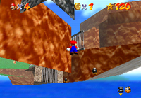 A camera glitch which causes the camera to focus Mario from below the ground in Bob-omb Battlefield.