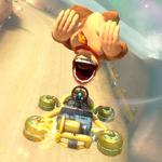 Donkey Kong performing a trick. Mario Kart 8.