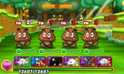 Screenshot of World 5-1, from Puzzle & Dragons: Super Mario Bros. Edition.