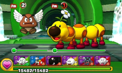 Screenshot of World 8-3, from Puzzle & Dragons: Super Mario Bros. Edition.