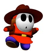 Mario Party 4 promotional artwork: The Shy Guy with his western outfit