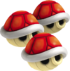 Triple Red Shells from Mario Kart 7.
