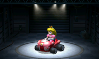 Princess Peach, using the Birthday Girl, equipped with the Slick tires.