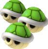 Triple Green Shells from Mario Kart 7.