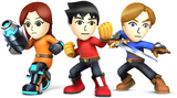 Artwork of the Mii Fighters, from Super Smash Bros. for Nintendo 3DS / Wii U.