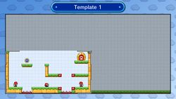 The level editor, as seen on both the TV or monitor screen and the Wii U GamePad
