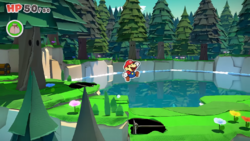Mario jumping near a lake in Paper Mario: The Origami King