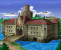 A view of Princess Peach's Castle from Super Smash Bros. Melee.
