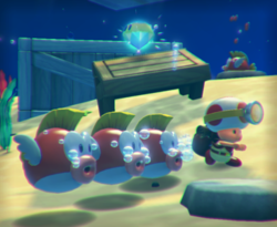 The illustration of Briny Bowl Swimming Hole in Captain Toad: Treasure Tracker.