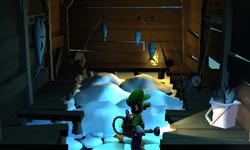 The Fishing Hut segment from Luigi's Mansion: Dark Moon.