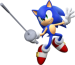 Artwork of Sonic fencing from Mario & Sonic at the London 2012 Olympic Games