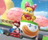 The icon of the Wendy Cup challenge from the London Tour, the Baby Mario Cup challenge from the Peach Tour, and the Luigi Cup challenge from the Sydney Tour in Mario Kart Tour.