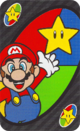 The Invincible Mario card from the UNO Super Mario deck (featuring Mario and Super Star)