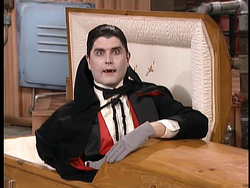 "Count Zoltan Dracula from the ""Bats in the Basement"" live action segment of The Super Mario Bros. Super Show!."