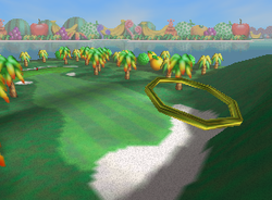 Dunk the Bunker!, a Ring Shot challenge in Yoshi's Island from Mario Golf