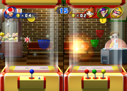 Wario's basket exploding in Grabbin' Gold from Mario Party 8