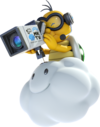 A Lakitu as it appears in Mario Kart 8 and Mario Kart 8 Deluxe as the referee and filming for Mario Kart TV.