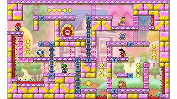 Miiverse screenshot of the 83rd official level in the online community of Mario vs. Donkey Kong: Tipping Stars