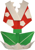 An origami Piranha Plant from Paper Mario: The Origami King.