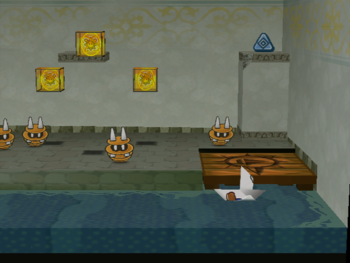 Mario next to the Shine Sprite in the secret room to the very right of Rogueport Sewers in Paper Mario: The Thousand-Year Door.