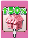 A Venture Card from Fortune Street indicating a 50% expansion to a shop