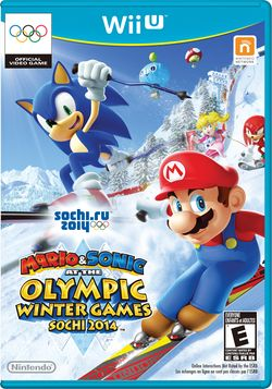 The front cover of Mario & Sonic at the Sochi 2014 Olympic Winter Games for Wii U.