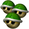 Triple Green Shells in Mario Kart: Double Dash!!.