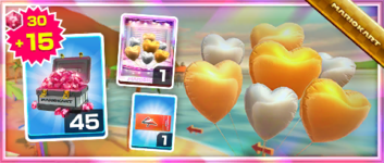 The Silver-and-Gold Hearts Pack from the Los Angeles Tour in Mario Kart Tour
