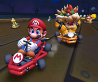 The icon of the Baby Daisy Cup challenge from the 2019 Halloween Tour and the Dry Bowser Cup challenge from the Mario Tour in Mario Kart Tour.