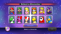 The character selection screen