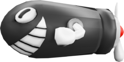 Rendered model of the Torpedo Ted enemy in New Super Mario Bros. U.