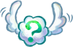 Artwork of a Winged Cloud, from Yoshi's New Island.