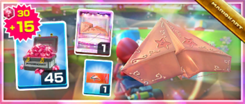 The Pink Gold Paper Glider Pack from the Super Mario Kart Tour in Mario Kart Tour