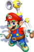 Artwork of Mario covered in goop, from Super Mario Sunshine.