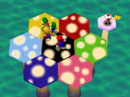 The minigame Mushroom Mix-Up.