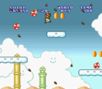 Luigi avoiding numerous Flying Cheep-Cheeps and the heavy wind and collecting coins in World A-3