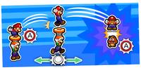 Illustration of the Jump Helmet Special Attack from Mario & Luigi: Bowser's Inside Story + Bowser Jr.'s Journey