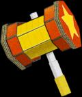 Artwork of the Trio Attack Hammer, from Mario & Luigi: Paper Jam.