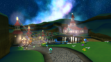 "A screenshot of Grand Finale Galaxy during ""The Star Festival"" mission from Super Mario Galaxy."