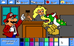 Mario as an attorney and Peach as a Judge.