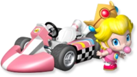 Artwork of Baby Peach with her kart from Mario Kart Wii