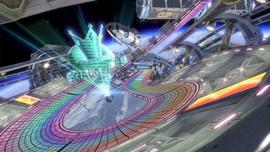 Rainbow Road in Mario Kart 8.