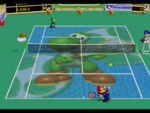 Yoshi court in the game Mario Tennis (Nintendo 64).