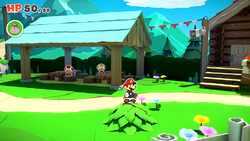 A Toad stuck in a bush in Paper Mario: The Origami King. The sixth hidden Toad in Whispering Woods.