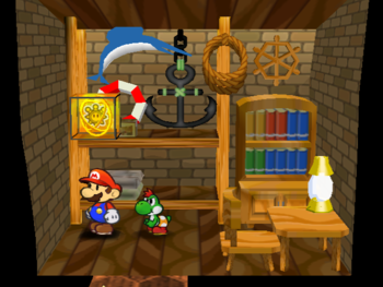 Mario next to the Shine Sprite in Bobbery's house in Paper Mario: The Thousand-Year Door.